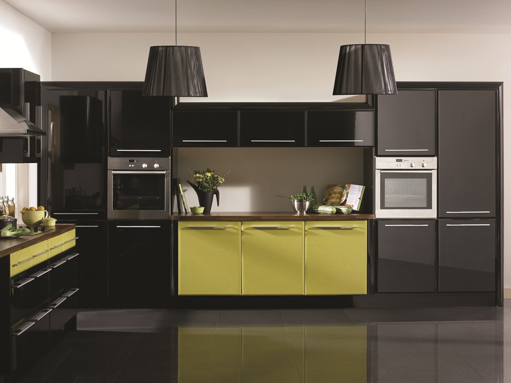 Crystal interiors bella kitchen range for Lime black kitchens